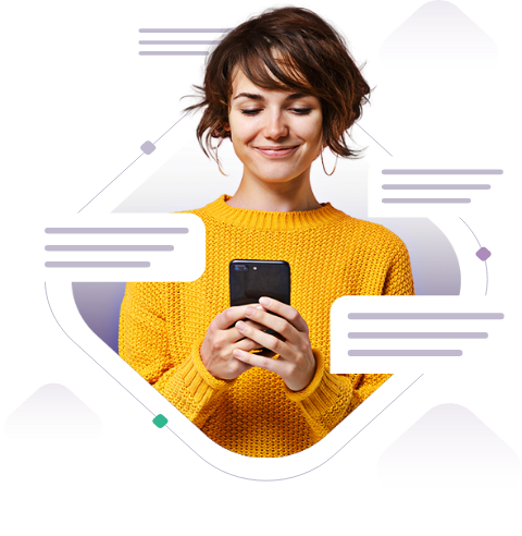 Woman looking at phone using conversational ai for customer service